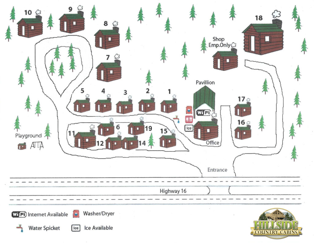 Hillside Country Cabins Map